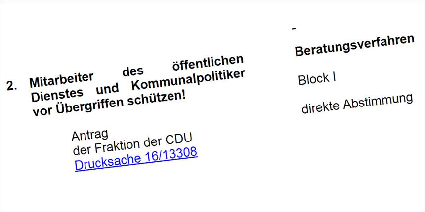 NRW-Landtag beschäftigt sich mit Gewalt gegen Beschäftigte im Öffentlichen Dienst